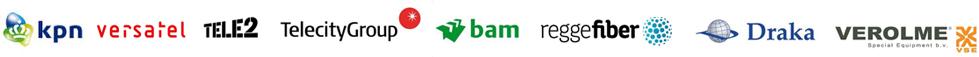 KPN Versatel Tele2 TeleCity BAM ReggeFiber Draka Croon Verolme ABNAmro Rabo European Patent Office Scholten Awater EvoSwitch DeltaTechniek Boskalis Van Oord Agfa
